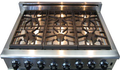 Top Burners on the American Range Heritage Classic 36 inch Six Burner Model
