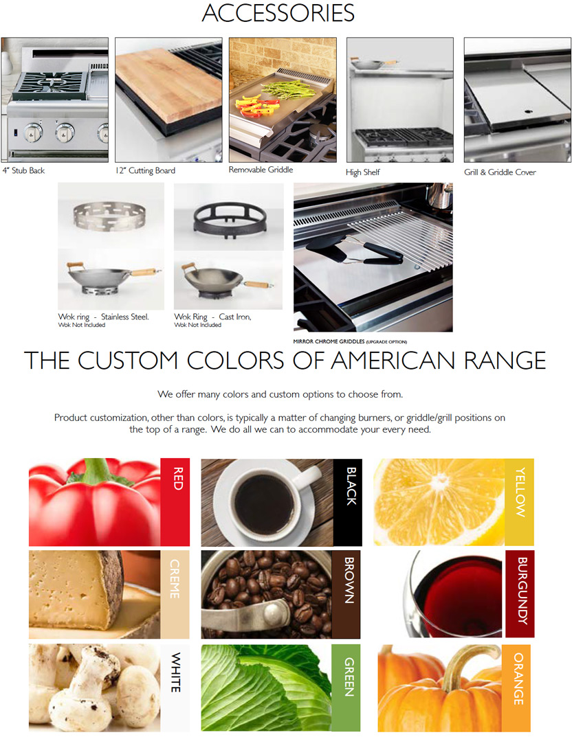American Range Residential Cooktops Options and Accessories
