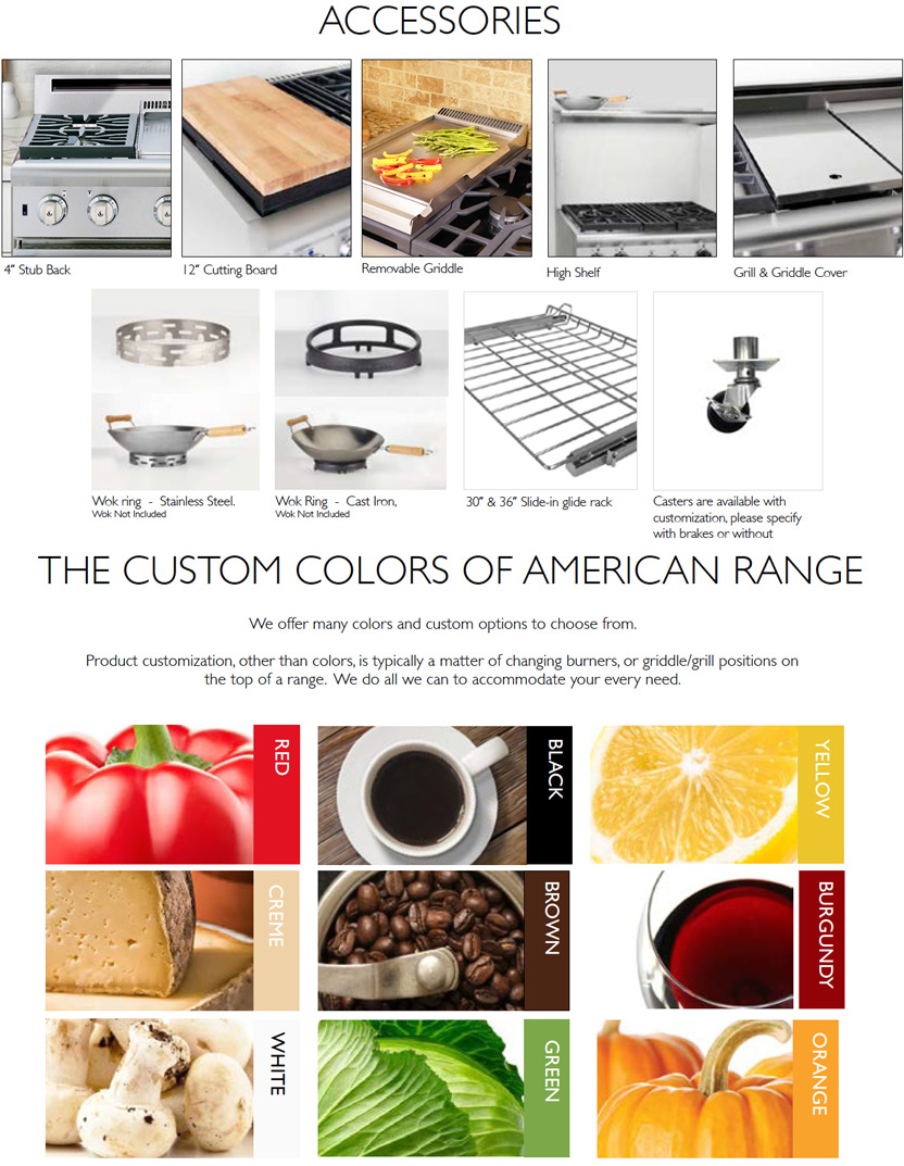 American Range Residential Range Options and Accessories